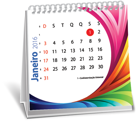 Calendario de Mesa 14,5x14,5x6 Folhas Brooklin Novo