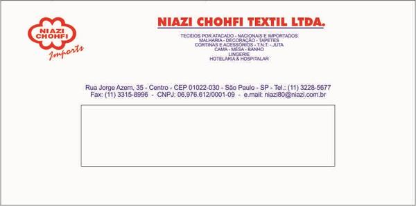 Envelope Ofício Janela Impressão 2 Cores da Niazi Chohfi