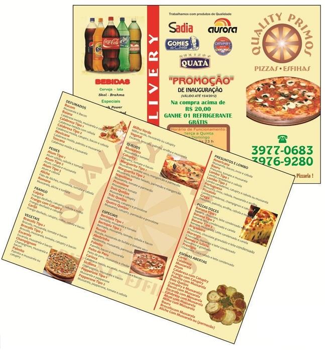 Folder Pizzaria 2 Dobras da Quality Primos