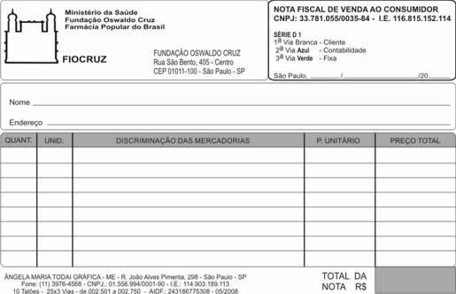 Nota Fiscal da Fiocruz
